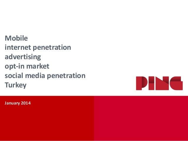 Mobile internet penetration advertising opt-in market social media penetration Turkey January 2014