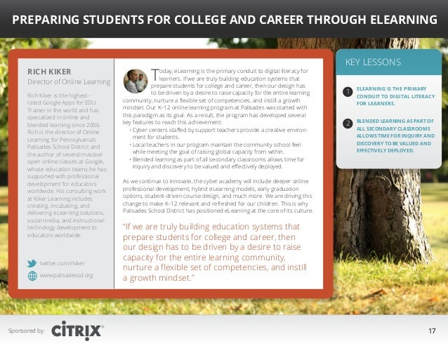 """ Preparing Students for College and Career Through eLearning  Rich Kiker  Director of Online Learning Rich Kiker is the h..."