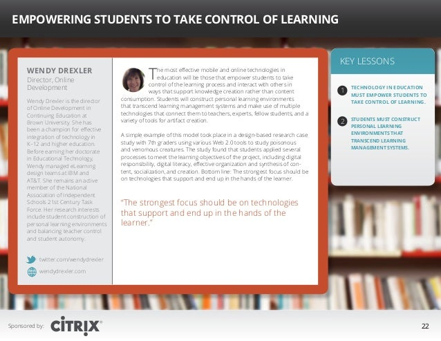 """ Empowering Students to Take Control of Learning  Wendy Drexler Director, Online Development  Wendy Drexler is the direct..."