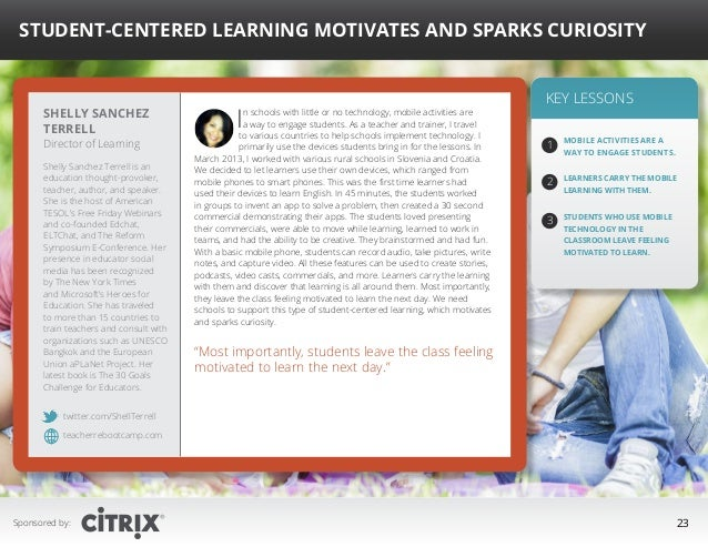 """ Student-Centered Learning Motivates and Sparks Curiosity  Shelly Sanchez Terrell Director of Learning  Shelly Sanchez Te..."