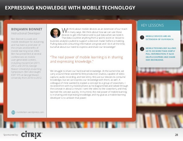 """ Expressing Knowledge with Mobile Technology  Benjamin Bonnet Instructional Developer  Ben Bonnet is a web and mobile dev..."