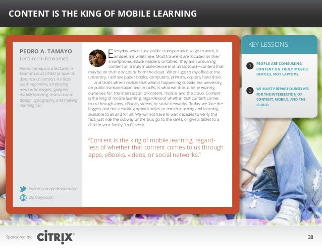 """ Content is the King of Mobile Learning  Pedro A. Tamayo Lecturer in Economics  Pedro Tamayo is a lecturer in Economics a..."