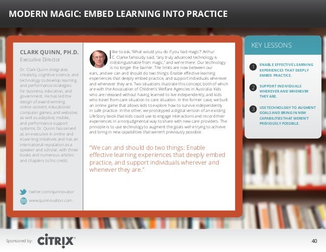 """ Modern Magic: Embed Learning into Practice  Clark Quinn, Ph.D. Executive Director  Dr. Clark Quinn integrates creativity..."