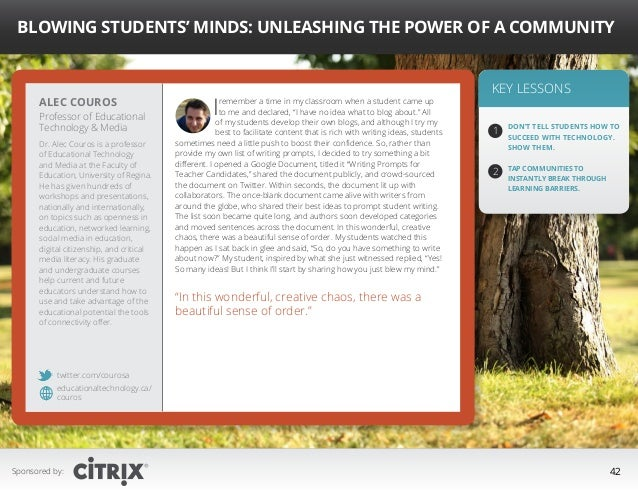 """"""" Blowing Students' Minds: Unleashing the Power of a Community  Alec Couros  Professor of Educational Technology  Media Dr..."""
