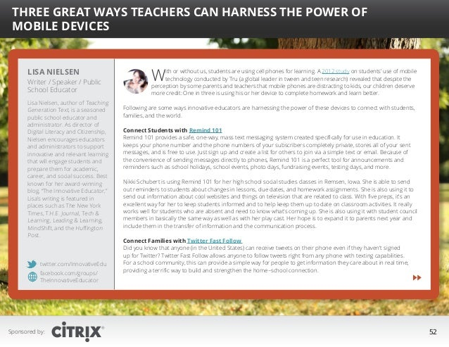 """  Three Great Ways Teachers Can Harness the Power of Mobile Devices  Lisa Nielsen  Writer / Speaker / Public School Educa..."