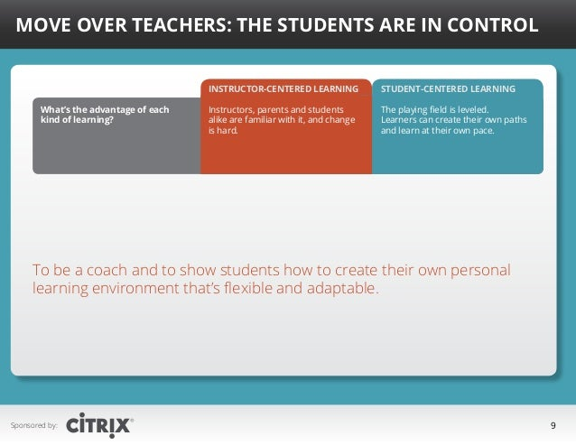 Move Over Teachers: The Students Are in Control Instructor-centered learning What's the advantage of each kind of learning...