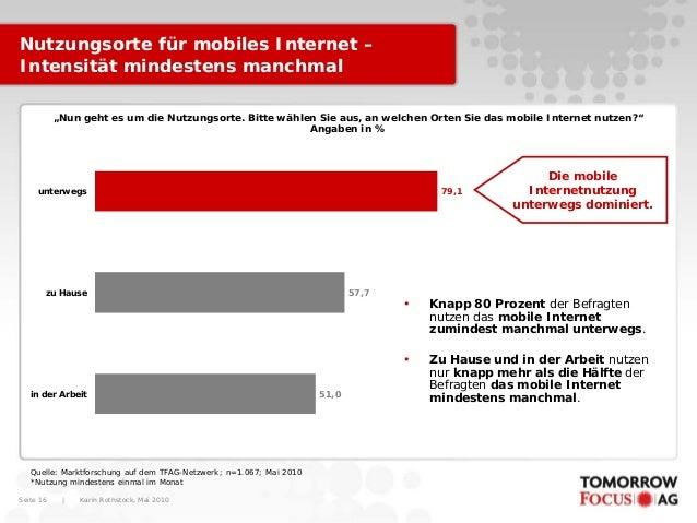 """Karin Rothstock, Mai 2010 Seite 16 Nutzungsorte für mobiles Internet – Intensität mindestens manchmal """"Nun geht es um die ..."""
