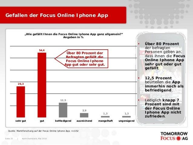 """Karin Rothstock, Mai 2010 Seite 31 Gefallen der Focus Online Iphone App """"Wie gefällt Ihnen die Focus Online Iphone App gan..."""