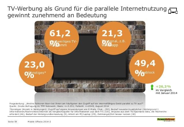TV-Werbung als Grund für die parallele Internetnutzung gewinnt zunehmend an Bedeutung 61,2 %Langweiliges TV- Programm 21,3...