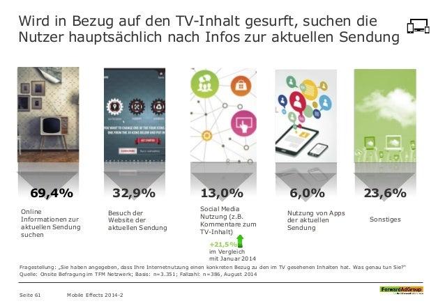 Wird in Bezug auf den TV-Inhalt gesurft, suchen die Nutzer hauptsächlich nach Infos zur aktuellen Sendung 69,4% 32,9% 13,0...