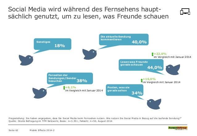 Social Media wird während des Fernsehens haupt- sächlich genutzt, um zu lesen, was Freunde schauen Seite 62 Mobile Effects...