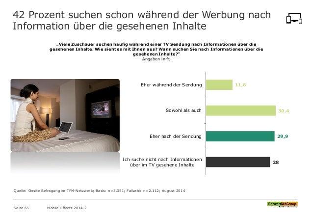 """42 Prozent suchen schon während der Werbung nach Information über die gesehenen Inhalte Seite 65 Mobile Effects 2014-2 """"Vi..."""