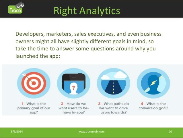 Right Analytics  Developers, marketers, sales executives, and even business  owners might all have slightly different goal...