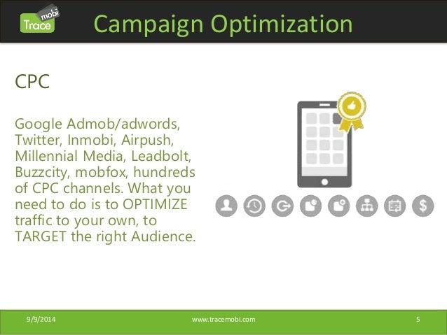 Campaign Optimization  CPC  Google Admob/adwords,  Twitter, Inmobi, Airpush,  Millennial Media, Leadbolt,  Buzzcity, mobfo...
