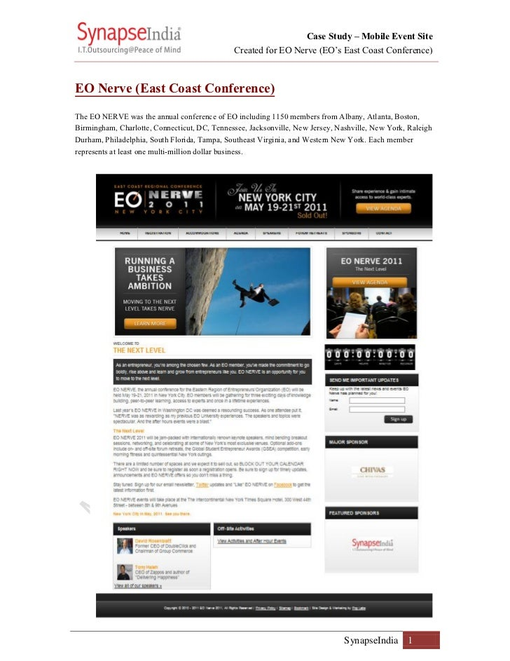 Case Study – Mobile Event Site                                              Created for EO Nerve (EO's East Coast Conferen...