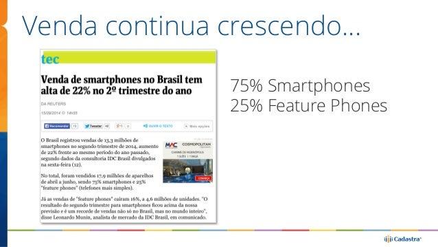 Venda continua crescendo…  75% Smartphones  25% Feature Phones