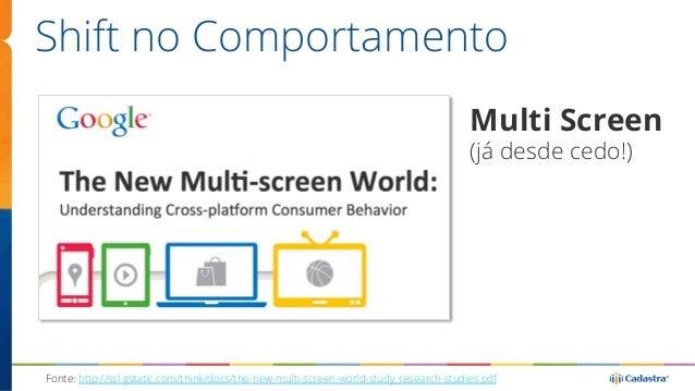 Shift no Comportamento  Multi Screen  (já desde cedo!)  Fonte: http://ssl.gstatic.com/think/docs/the-new-multi-screen-worl...