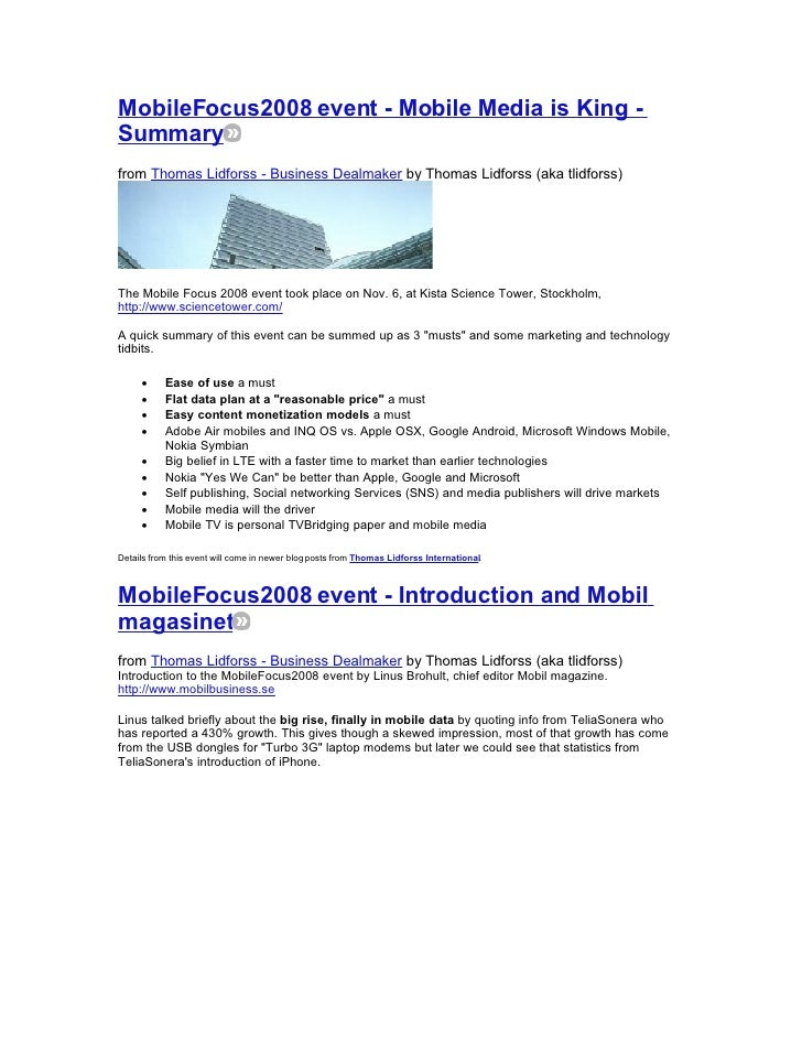MobileFocus2008 event - Mobile Media is King - Summary from Thomas Lidforss - Business Dealmaker by Thomas Lidforss (aka t...