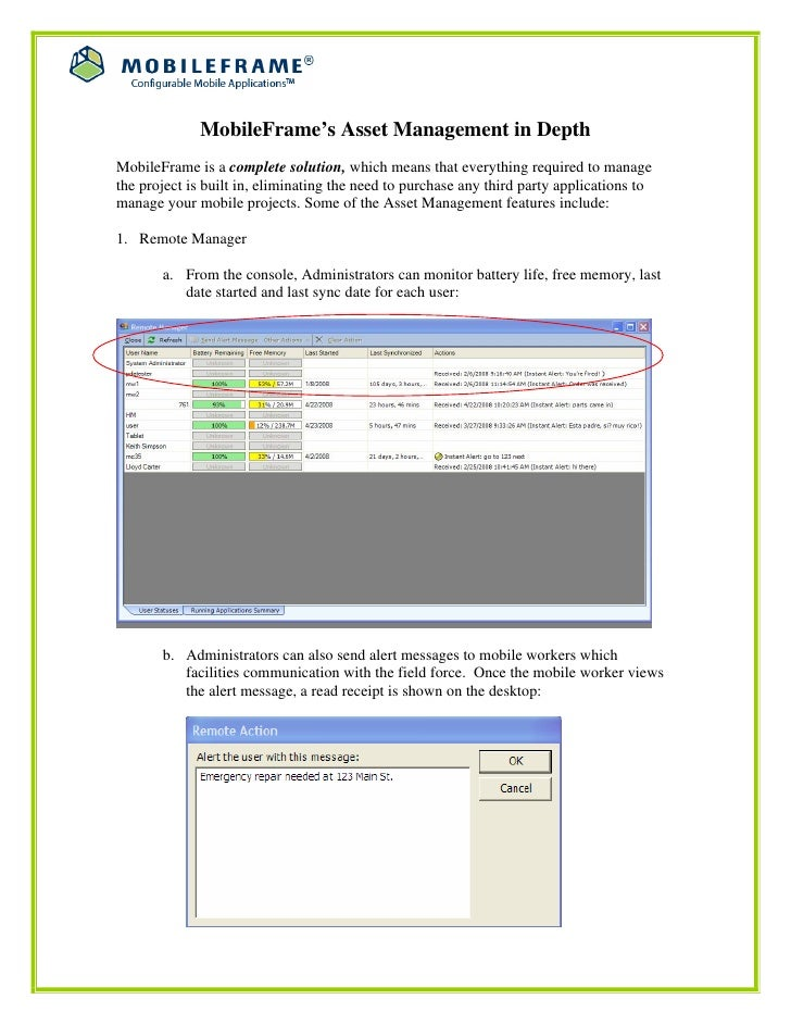 MobileFrame's Asset Management in DepthMobileFrame is a complete solution, which means that everything required to managet...