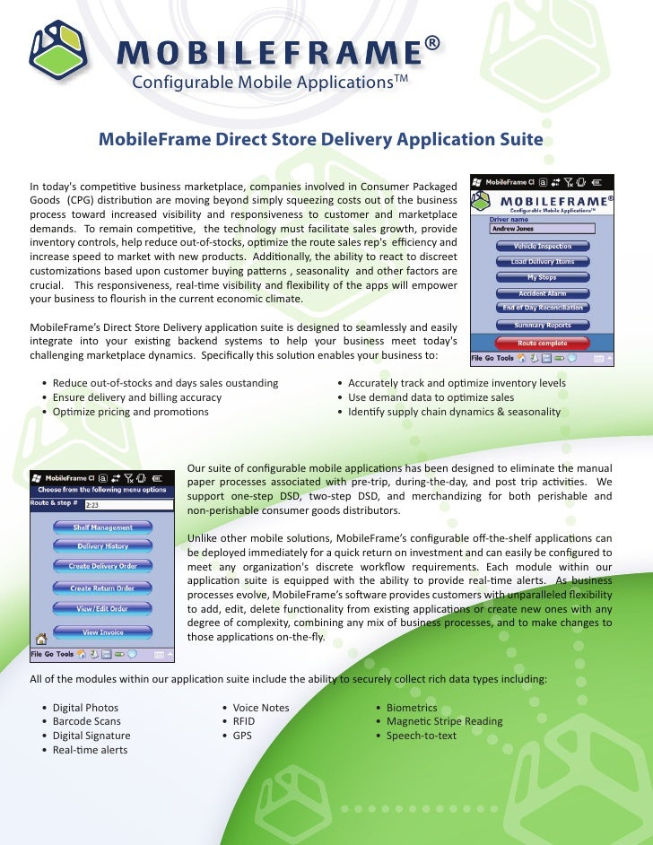 ®                          Configurable Mobile ApplicationsTM               MobileFrame Direct Store Delivery Application ...