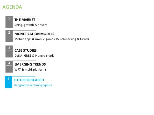 AGENDA 1   THE MARKET     Sizing, growth & drivers 2   MONETIZATION MODELS     Mobile apps & mobile games: Benchmarking & ...