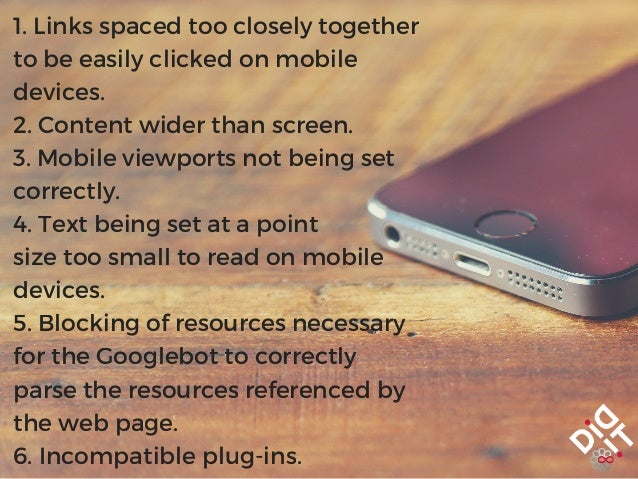 1. Links spaced too closely together to be easily clicked on mobile devices. 2. Content wider than screen. 3. Mobile viewp...
