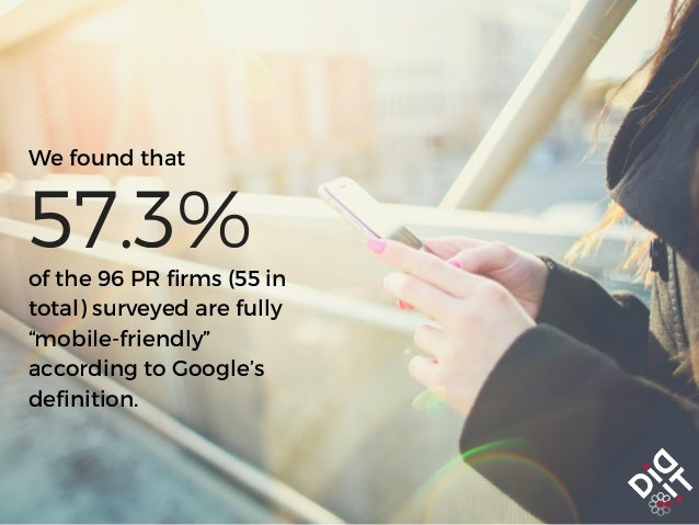 """We found that of the 96 PR firms (55 in total) surveyed are fully """"mobile-friendly"""" according to Google's definition. 57.3%"""