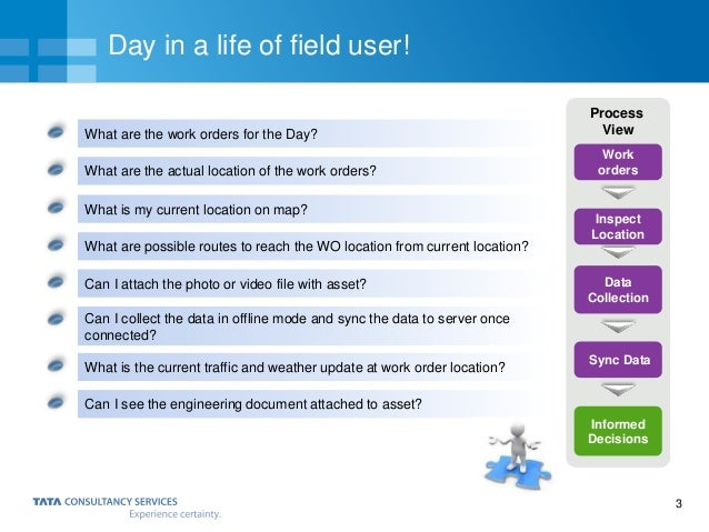 3 Day in a life of field user! What are the work orders for the Day? What are the actual location of the work orders? What...