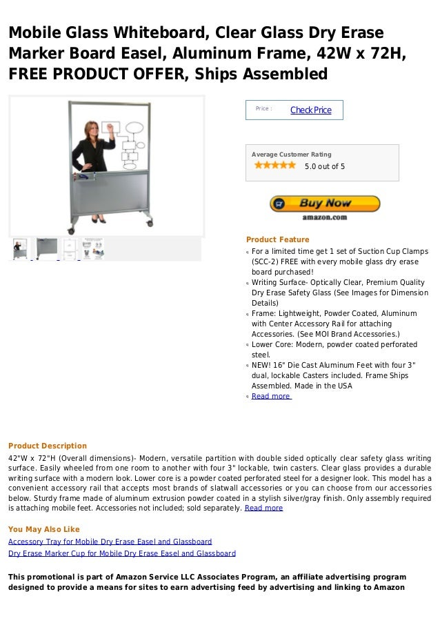 Mobile Glass Whiteboard, Clear Glass Dry EraseMarker Board Easel, Aluminum Frame, 42W x 72H,FREE PRODUCT OFFER, Ships Asse...