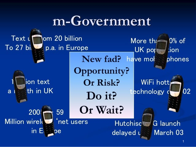 1 2005 … 59 Million wireless 'net users in Europe New fad? Opportunity? Or Risk? Do it? Or Wait? m-Government More than 70...