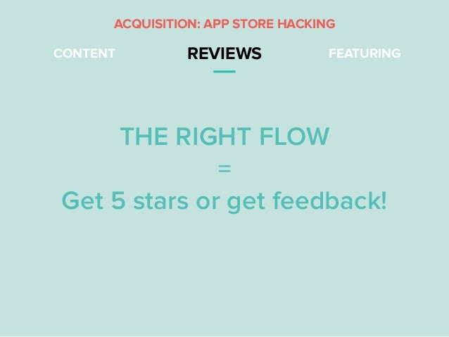 CONTENT REVIEWS FEATURING THE RIGHT FLOW = Get 5 stars or get feedback! ACQUISITION: APP STORE HACKING