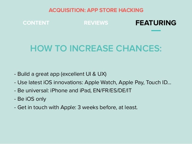 REVIEWS FEATURING - Build a great app (excellent UI & UX) - Use latest iOS innovations: Apple Watch, Apple Pay, Touch ID… ...