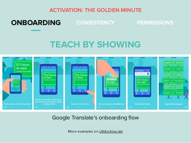 ONBOARDING CONSISTENCY PERMISSIONS ACTIVATION: THE GOLDEN MINUTE TEACH BY SHOWING More examples on UXArchive.net Google Tr...