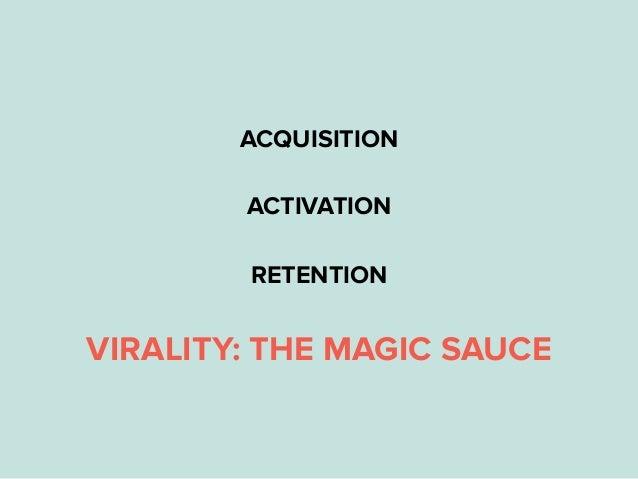 ACQUISITION ACTIVATION RETENTION VIRALITY: THE MAGIC SAUCE