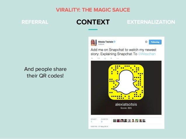 REFERRAL CONTEXT EXTERNALIZATION VIRALITY: THE MAGIC SAUCE And people share their QR codes!