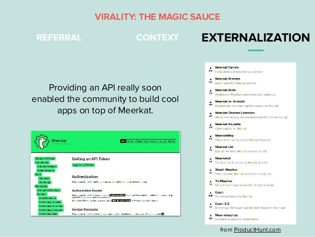 REFERRAL CONTEXT EXTERNALIZATION VIRALITY: THE MAGIC SAUCE Providing an API really soon enabled the community to build coo...