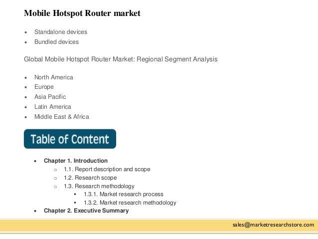 Mobile Hotspot Router market sales@marketresearchstore.com  Standalone devices  Bundled devices Global Mobile Hotspot Ro...