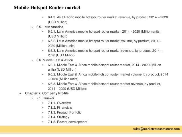 Mobile Hotspot Router market sales@marketresearchstore.com  6.4.3. Asia Pacific mobile hotspot router market revenue, by ...