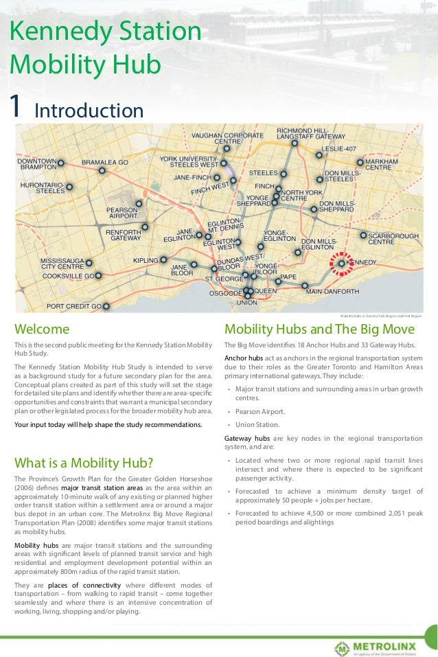 Kennedy Station Mobility Hub  Mobility Hubs in the Greater Toronto and Hamilton Area Mobility Hubs in the Greater Toronto ...