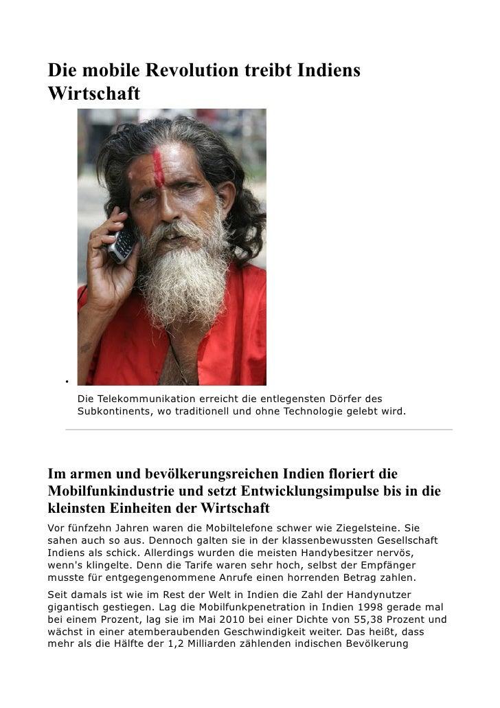 Die mobile Revolution treibt Indiens Wirtschaft        •        Die Telekommunikation erreicht die entlegensten Dörfer des...