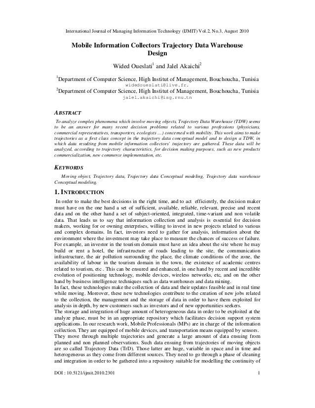 International Journal of Managing Information Technology (IJMIT) Vol.2, No.3, August 2010 DOI : 10.5121/ijmit.2010.2301 1 ...