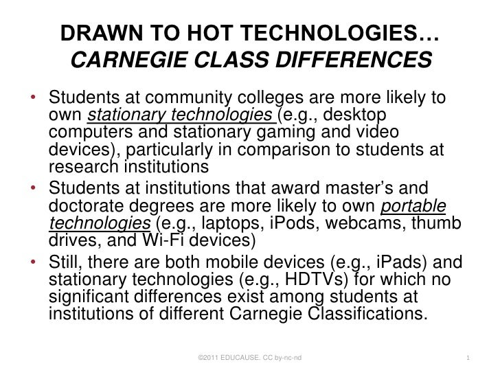DRAWN TO HOT TECHNOLOGIES…    CARNEGIE CLASS DIFFERENCES• Students at community colleges are more likely to  own stationar...