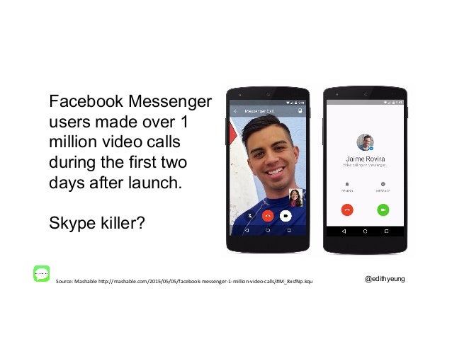 @edithyeung Facebook Messenger users made over 1 million video calls during the first two days after launch. Skype killer?...