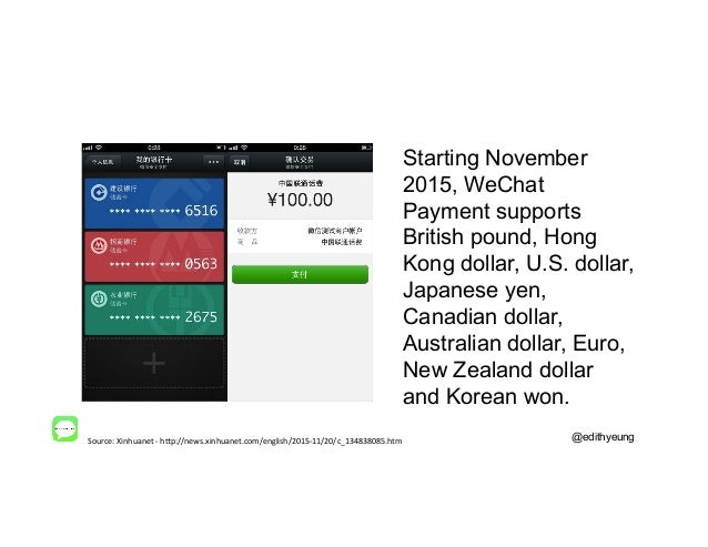 @edithyeung Starting November 2015, WeChat Payment supports British pound, Hong Kong dollar, U.S. dollar, Japanese yen, Ca...