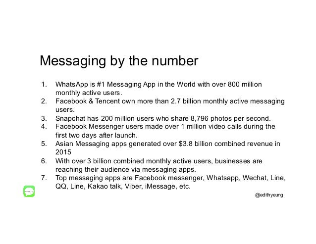 Messaging by the number 1. WhatsApp is #1 Messaging App in the World with over 800 million monthly active users. 2. Face...
