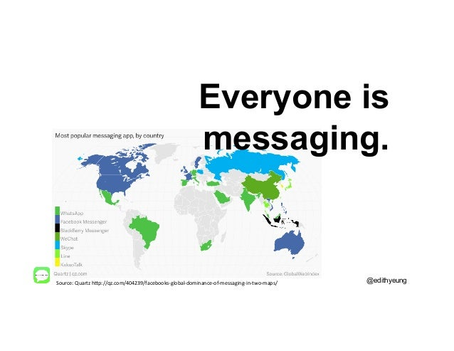 Everyone is messaging. @edithyeungSource:  Quartz  h.p://qz.com/404239/facebooks-‐global-‐dominance-‐of-‐messaging...
