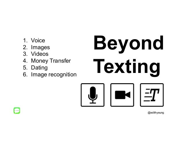 Beyond Texting 1. Voice 2. Images 3. Videos 4. Money Transfer 5. Dating 6. Image recognition @edithyeung