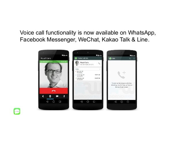 Voice call functionality is now available on WhatsApp, Facebook Messenger, WeChat, Kakao Talk & Line.