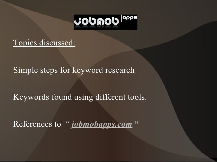 <ul>Topics discussed: <li>Simple steps for keyword research