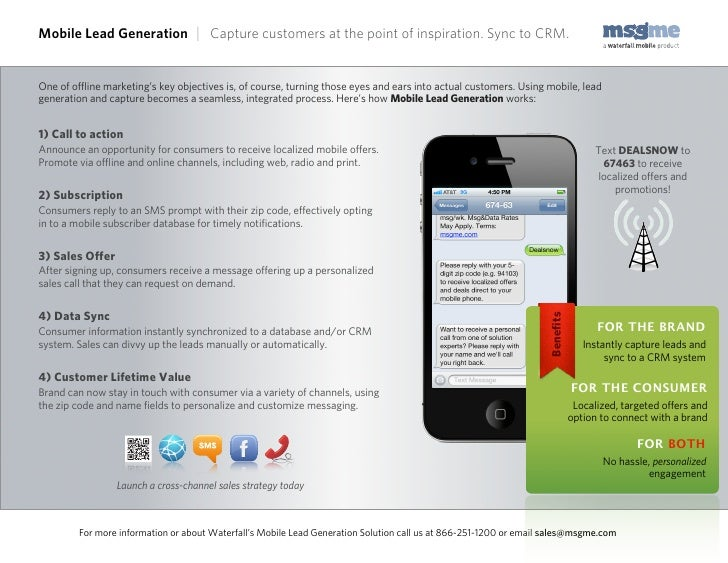 Mobile Lead Generation | Capture customers at the point of inspiration. Sync to CRM.One of offline marketing's key objective...
